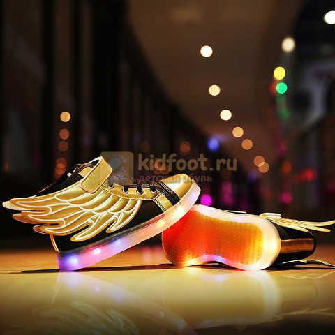 Светящиеся кроссовки с крыльями с USB зарядкой Бебексия (BEIBEIXIA), цвет черный золотой, светится вся подошва. Изображение 4 из 20.