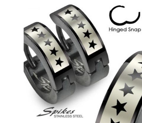 Мужские серьги черного цвета со звездами, ювелирная сталь, «Spikes»
