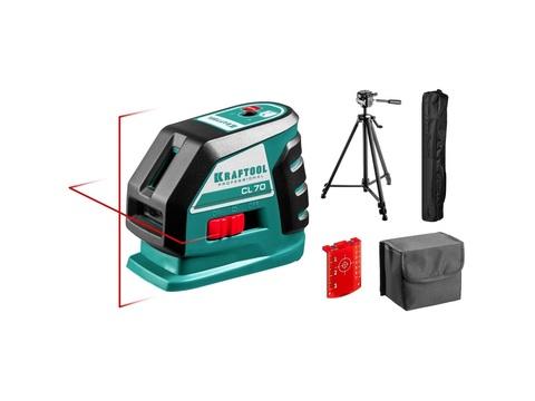 KRAFTOOL CL-70 #3 нивелир лазерный, 20м/70м, IP54, точн. +/-0,2 мм/м, штатив, питание 4хАА, в коробке
