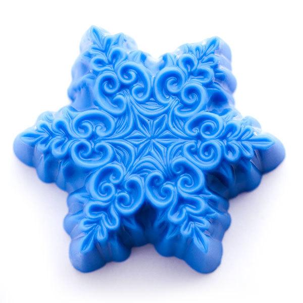 Пластиковая форма для мыла Снежинка в завитушках большая