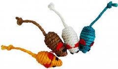 Уют игрушка для кошек Мышь-погремушка, сизаль цветной, 5 см