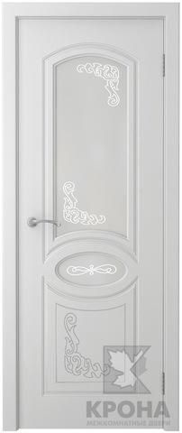 Дверь Крона Муза, стекло матовое с рисунком, цвет белая эмаль, остекленная