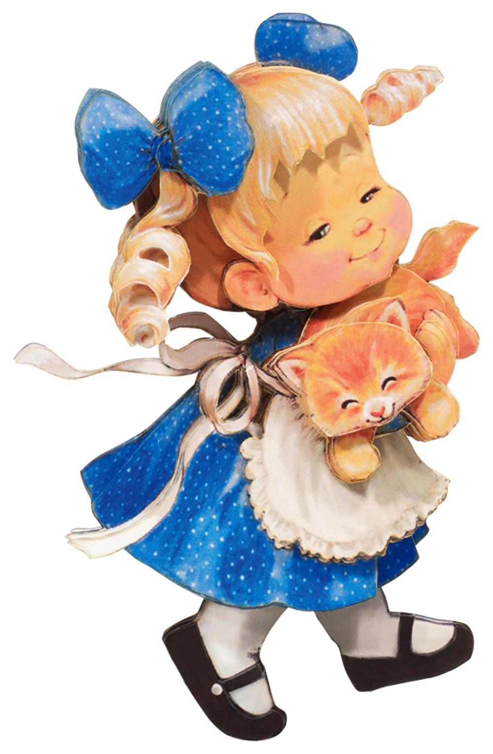 Папертоль Девочка с котенком — готовая работа, вид спереди.