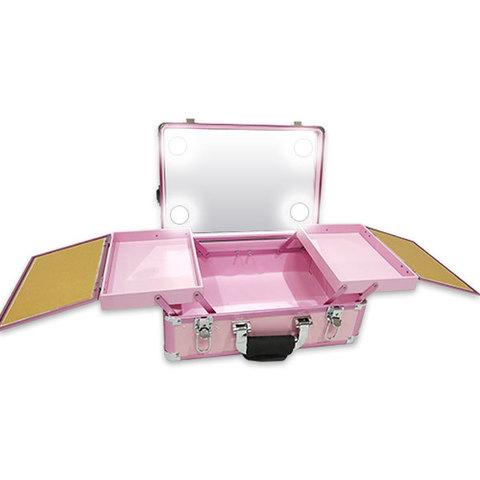 Бьюти кейс визажиста на колесиках (мобильная студия) LC019 Pink