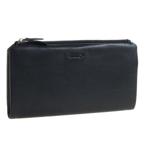 Мужской чёрный клатч портмоне из натуральной кожи GALIB 7M236