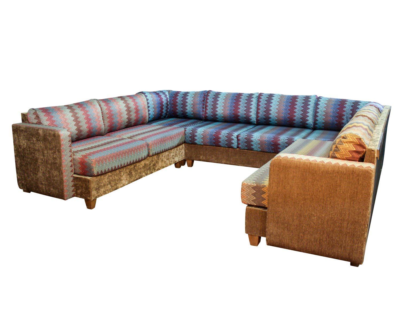 П-образный угловой диван Япошка с подлокотниками