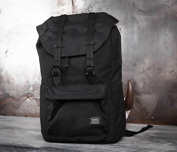 BAG404-1 Мужской тканевый рюкзак черного цвета фото 03