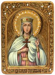 Живописная инкрустированная икона Святая благоверная княгиня Елена Сербская 29х21см на натуральном  кипарисе