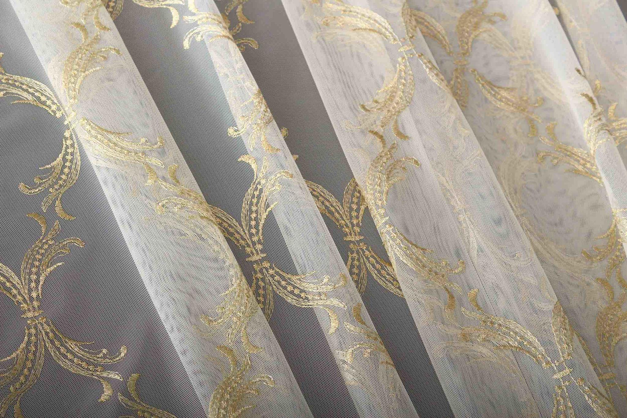 Микросетка с вышивкой Милана-2 (золото)