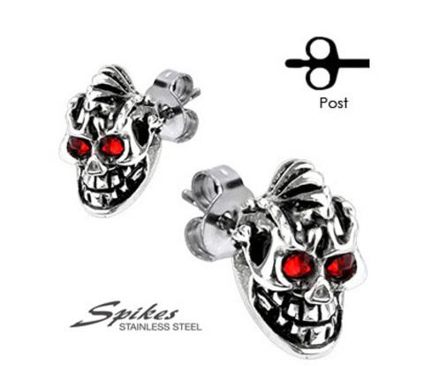 SSEM-103 Стальные серьги в виде черепов с красными глазами.