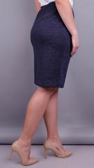 Пион ангора. Офисная юбка больших размеров. Синий.