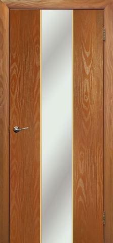 Дверь Дубрава Сибирь Гранд, зеркало/молдинг золото, цвет миланский орех, остекленная