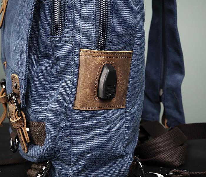BAG476-4 Городской рюкзак синего цвета USB выходом фото 12