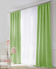 XL-Комплект штор блэкаут (зелёный) и вуаль (белый)