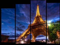 "Модульная картина ""Ночная Эйфелева башня """