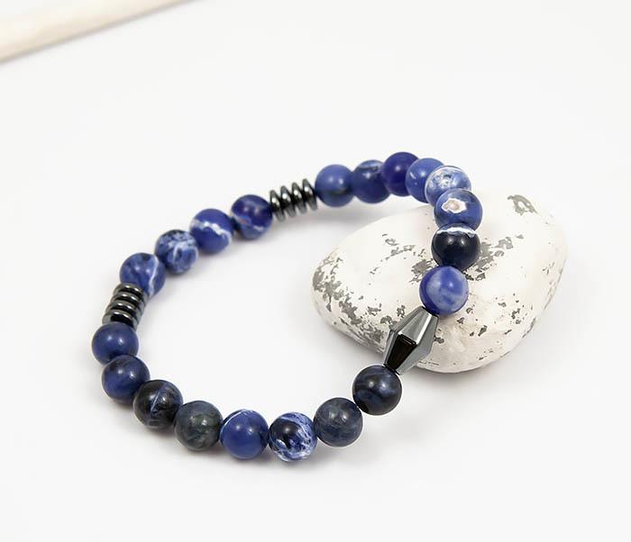 BS798 Браслет из камня синего цвета, ручная работа (19 см) фото 04