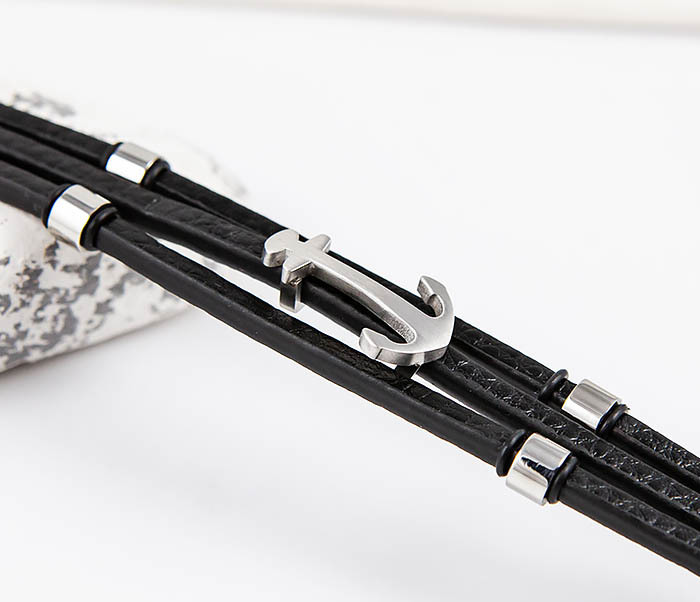 SLQ-1018S-08 Мужской браслет из кожи со стальным якорем, «Spikes» фото 03
