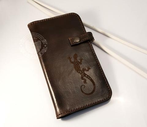 WB153-2-1 Мужской кожаный клатч ручной работы с рисунком ящерицей, &#34Boroda Design&#34