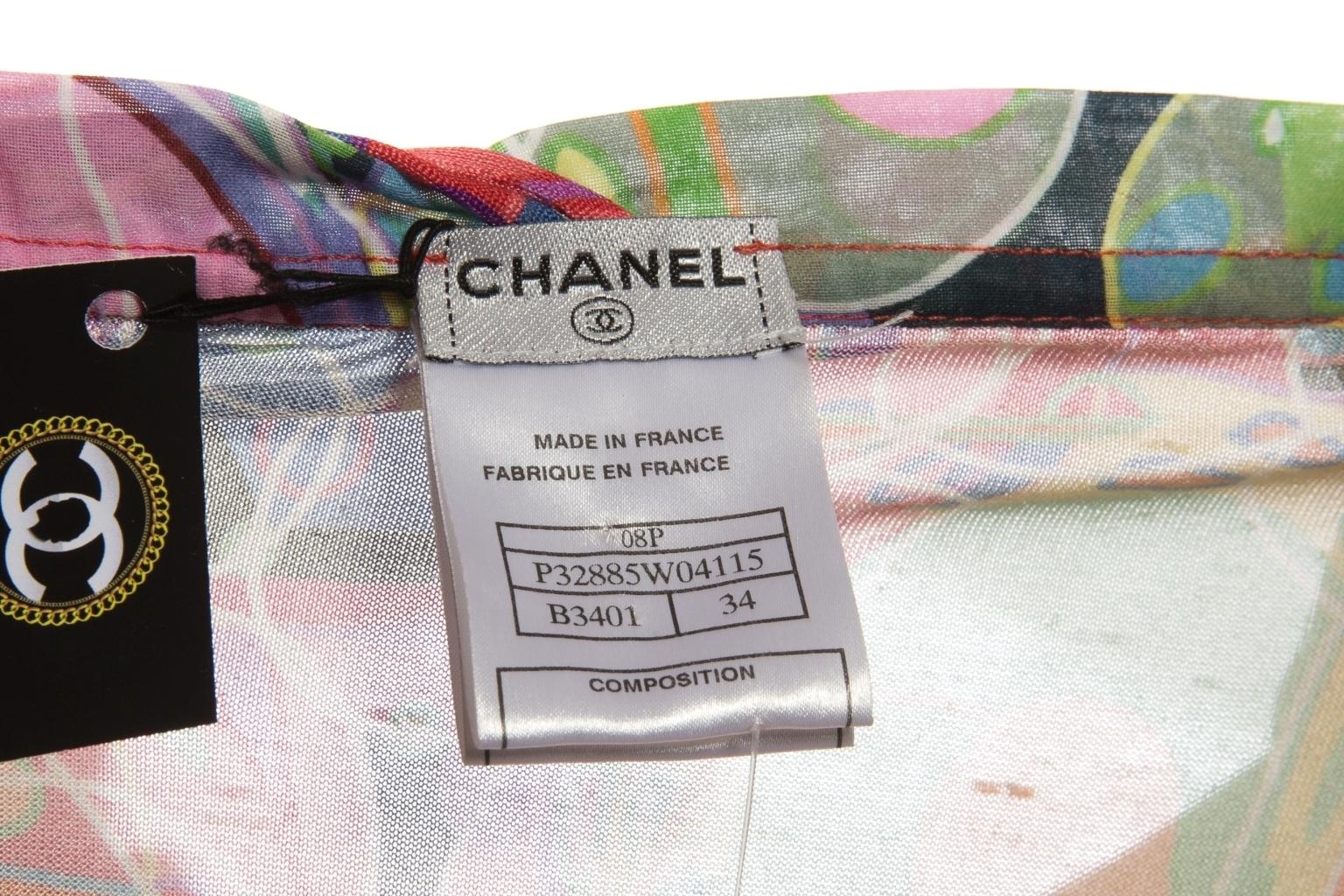 Яркое летнее платье из шелка от Chanel, 34 размер.