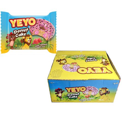 YEYO пончик с клубничным джемом покрытый глазурью 1кор*6бл*24шт 50гр.