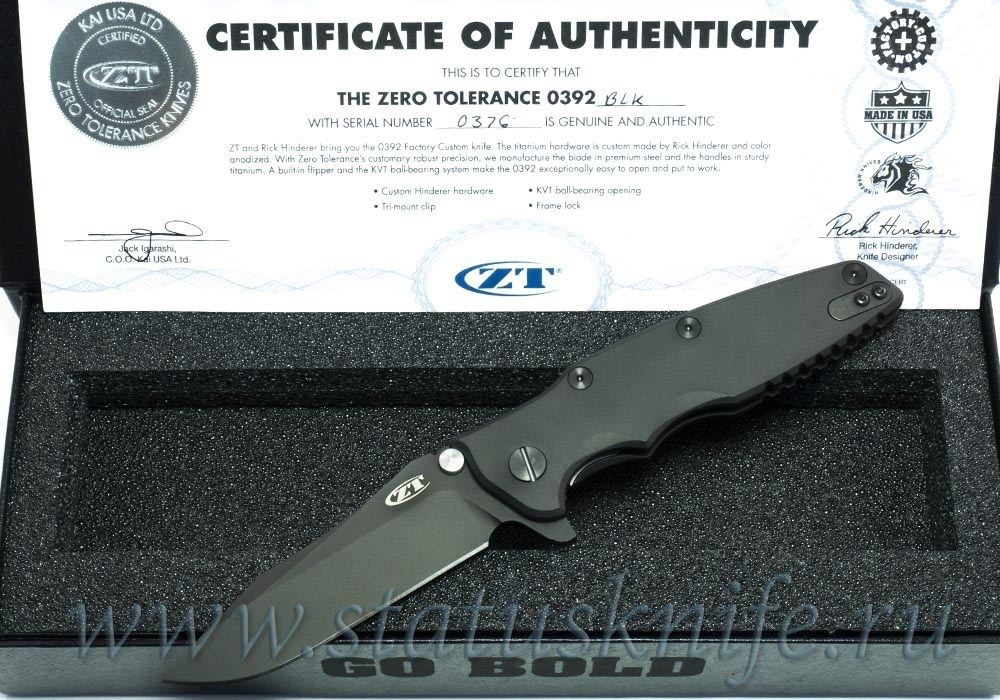 Нож Zero Tolerance 0392BLK Rick Hinderer Limited Edition