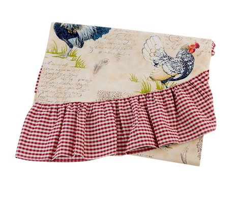 Скатерть 140x180 Old Florence Gallo бежевая с красной оборкой