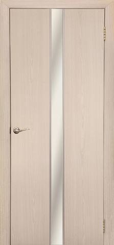 Дверь Дубрава Сибирь Айвенго, зеркало/молдинг серебро, цвет беленый дуб, остекленная