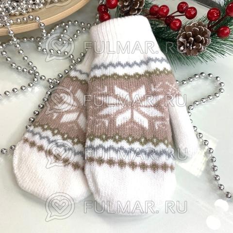 Варежки шерстяные вязаные Большая Снежинка (цвет: белый)