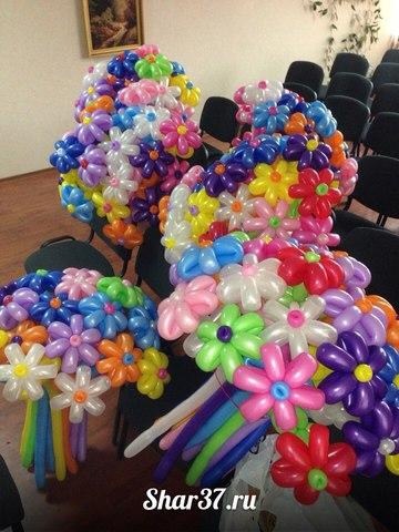 100 ромашек из шариков
