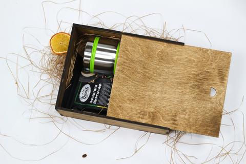 Набор кофе с термокружкой №2 в деревянном коробе