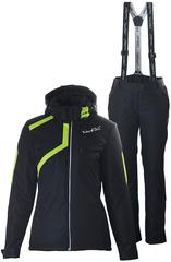 Женский утеплённый прогулочный лыжный костюм Nordski Premium Black-Lime