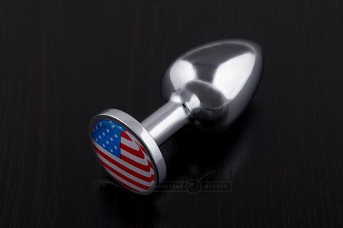 Маленькая анальная пробка с флагом США, медицинская сталь,  (7.5 см)