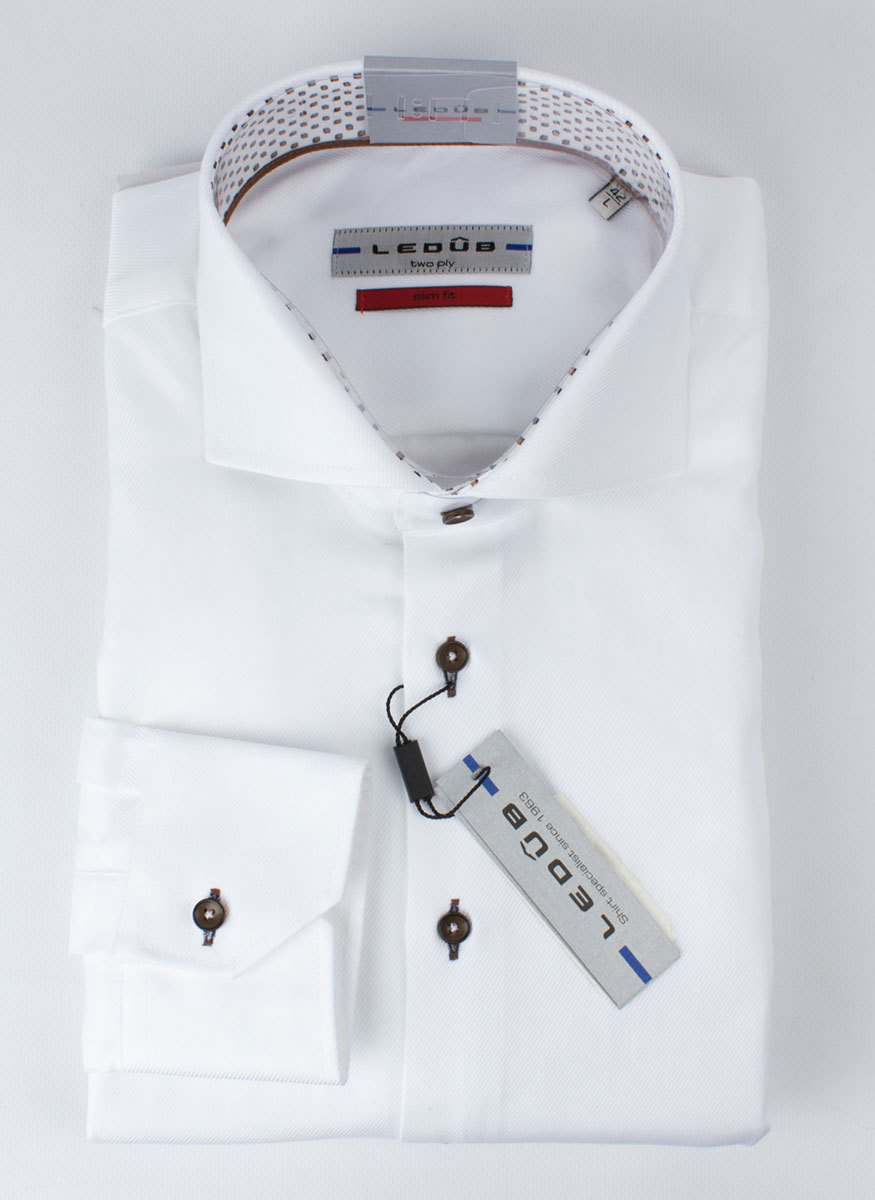 Рубашка Ledub slim fit 0136389-910-640-670-SF-White