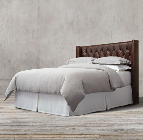 Adler Shelter Diamond-Tufted Leather Headboard
