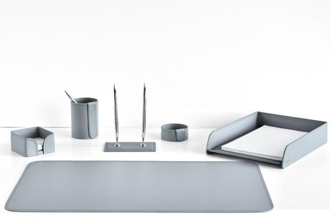 Настольный набор 6 предметов из кожи, цвет серый