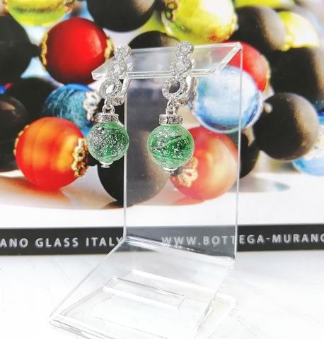 Серьги из муранского стекла со стразами Sandra Ca'D'oro Emerald Silver 030OB