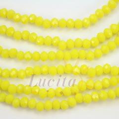 Бусина стеклянная, рондель с огранкой, цвет - желтый, 4х3 мм, нить