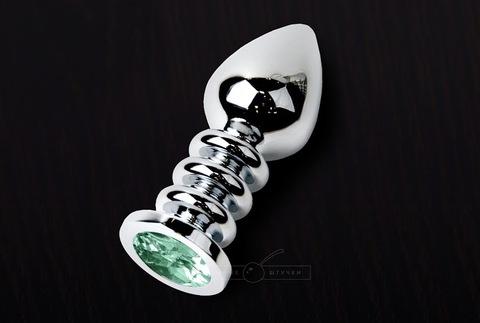 Анальная пробка с кристаллом, медицинская сталь, 10 см