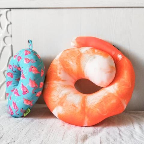Подушка-подголовник «Фламинго», голубая 3