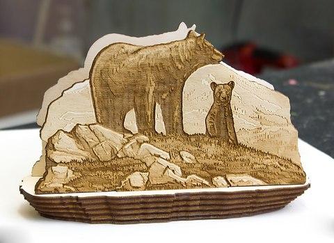 Салфетница из дерева Медведи
