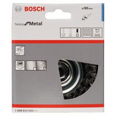 Чашечная щетка BOSCH М14 0.8x90мм пучки сталь