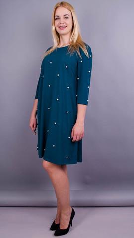 Жемчуг. Нарядное платье плюс сайз. Изумруд.