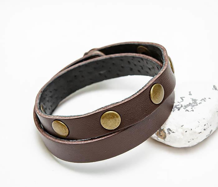 BL803-2 Двойной коричневый браслет из натуральной кожи