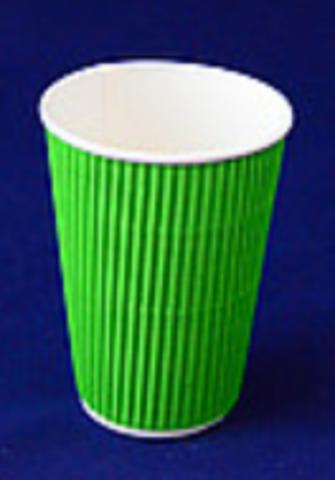 Стакан бумажный гофрированный 340 мл зеленый d80 (15 шт.)