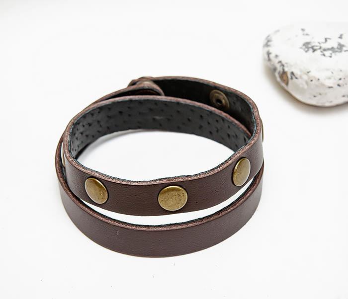BL803-2 Двойной коричневый браслет из натуральной кожи фото 02