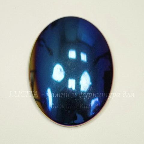 Кабошон овальный Гематит немагнитный, цвет - синий с бензиновым краем, 40х30 мм