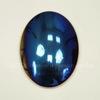 Кабошон овальный Гематит немагнитный синий с бензиновым краем, 40х30 мм