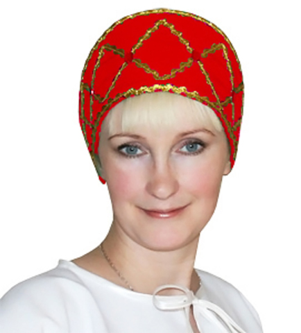 Русский народный кокошник красный