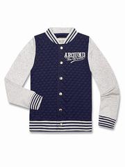 BAC004320 Пиджак для мальчиков, терри-флис, тем.синий/серый меланж