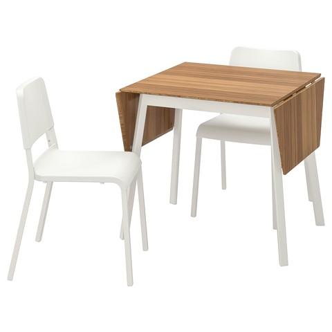 ИКЕА ПС 2012 / ТЕОДОРЕС Стол и 2 стула бамбук белый, белый